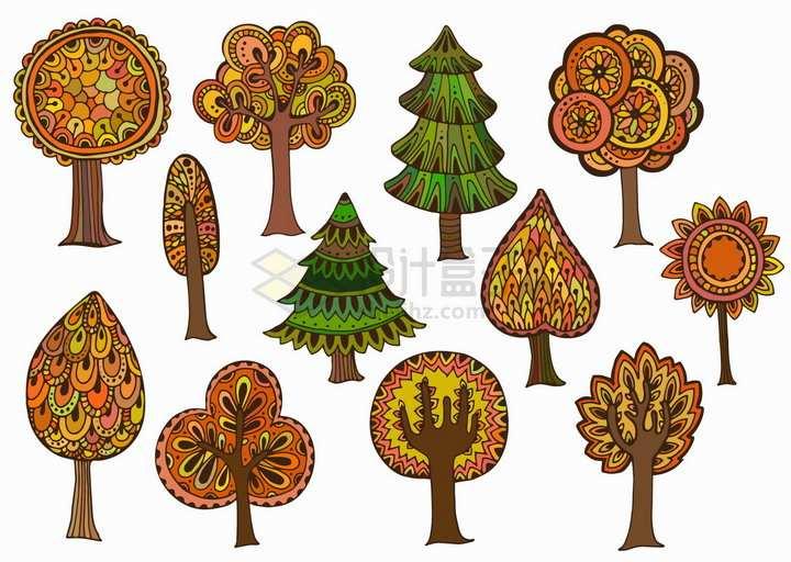 彩色树木抽象图案纹理部落民族图腾插画png图片免抠矢量素材
