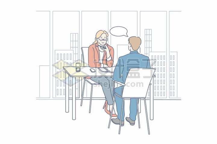 应聘者和面试者相互交流手绘线条插画png图片免抠矢量素材