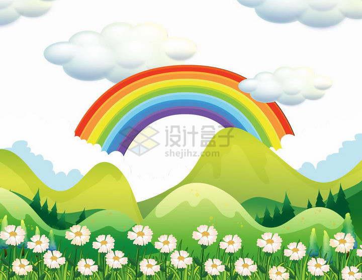 春天绿色大山和卡通彩虹png图片免抠矢量素材