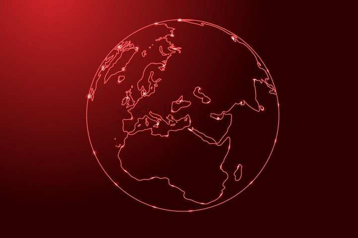 发光红色线条勾勒的地球欧洲和非洲png图片免抠矢量素材