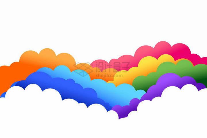 七彩色的云朵png图片免抠矢量素材