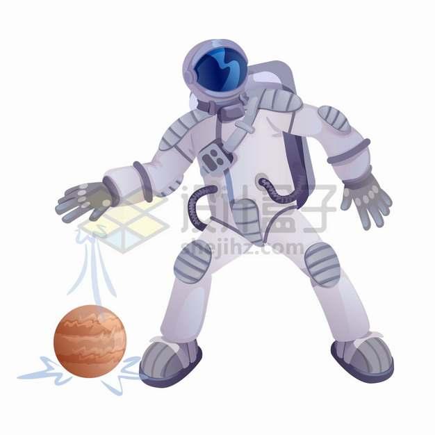 身穿宇航服的航天员把木星当做篮球拍png图片素材