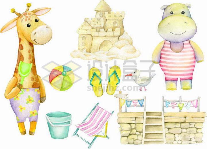 彩绘儿童画风格卡通长颈鹿河马沙雕png图片免抠矢量素材