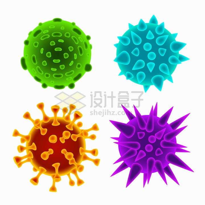 4款3D立体荧光色的新型冠状病毒png图片免抠矢量素材
