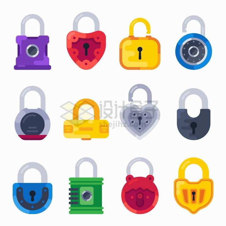 12款扁平化风格的挂锁png图片免抠矢量素材