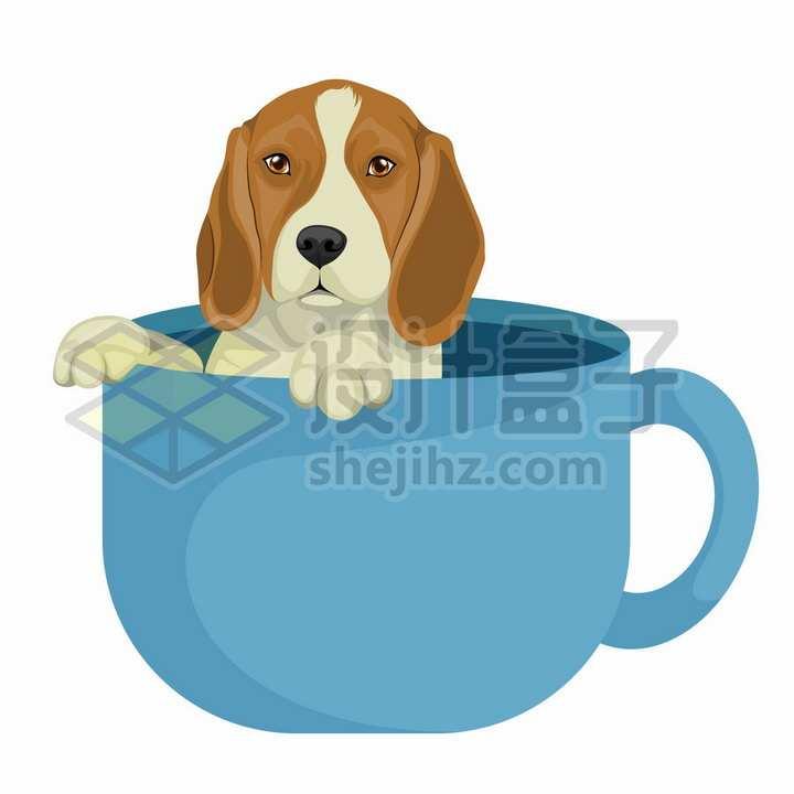茶杯中的狗狗宠物狗彩绘插画png图片免抠矢量素材