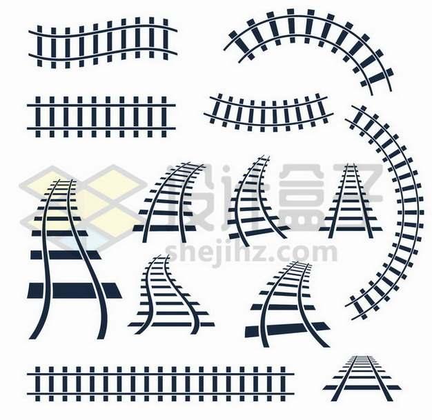 各种形状的铁路铁轨形状png图片免抠矢量素材