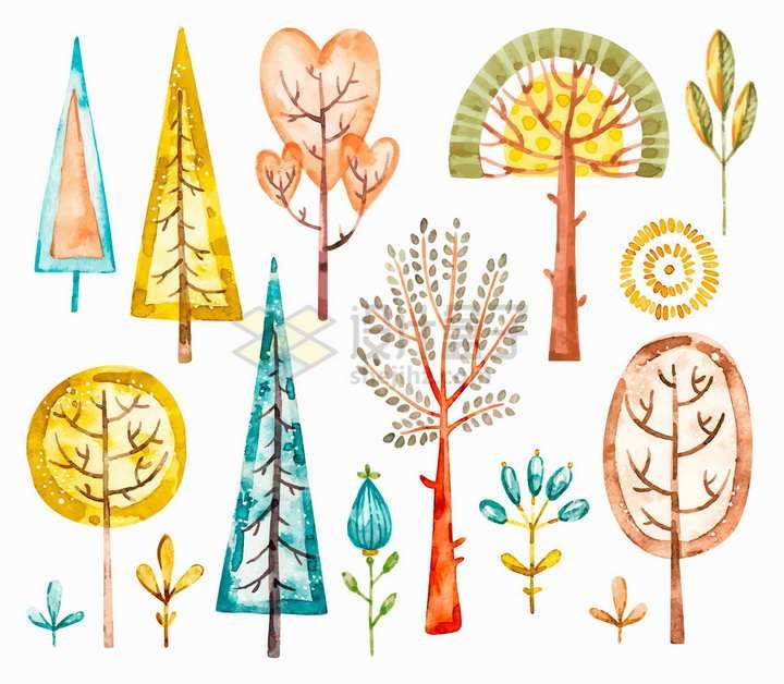 各种水彩画大树儿童插画png图片免抠矢量素材