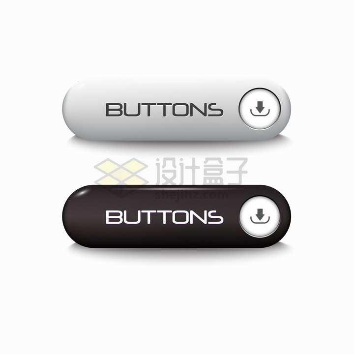 2款银色黑色圆角下载按钮png图片素材
