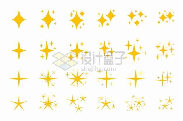 24款闪闪发光的黄色星星图案png图片素材