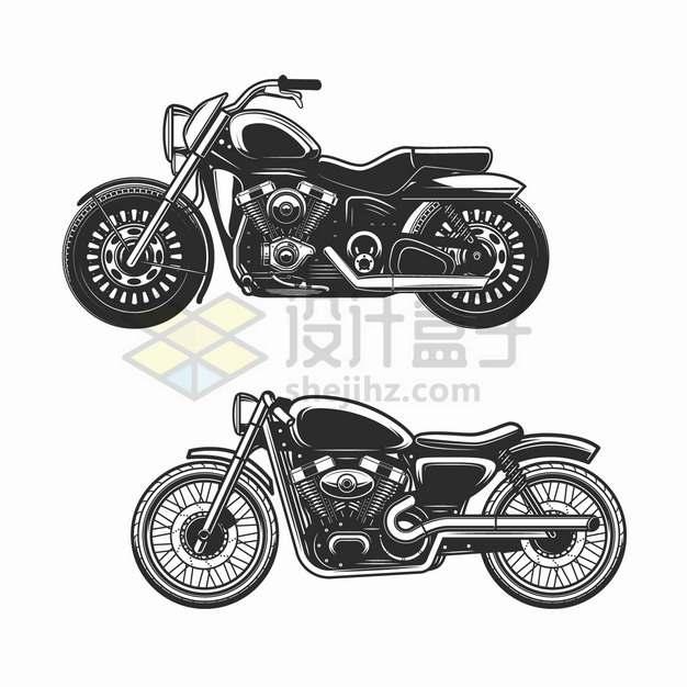 两款黑白色复古摩托车侧视图插画png图片素材