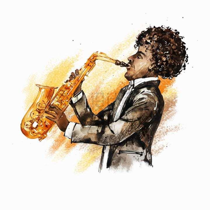 吹萨克斯的黑人音乐家水彩画涂鸦png图片免抠矢量素材