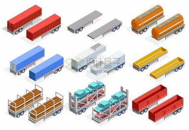 2.5D风格载重卡车半挂车等快递物流运输工具png图片免抠矢量素材