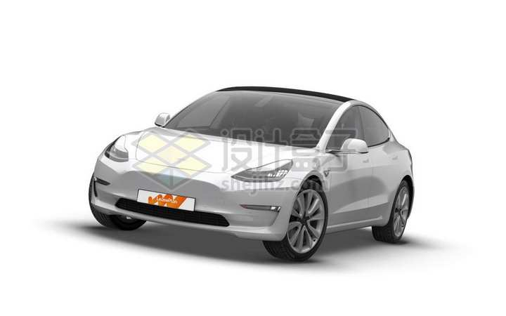 银色特斯拉Model 3电动汽车正面图