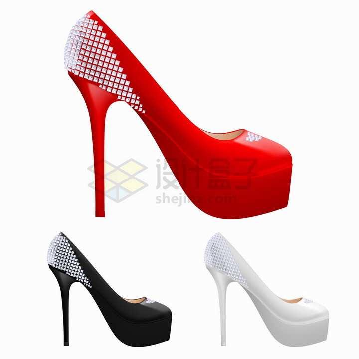红色黑色和白色三种颜色的高跟鞋png图片免抠矢量素材