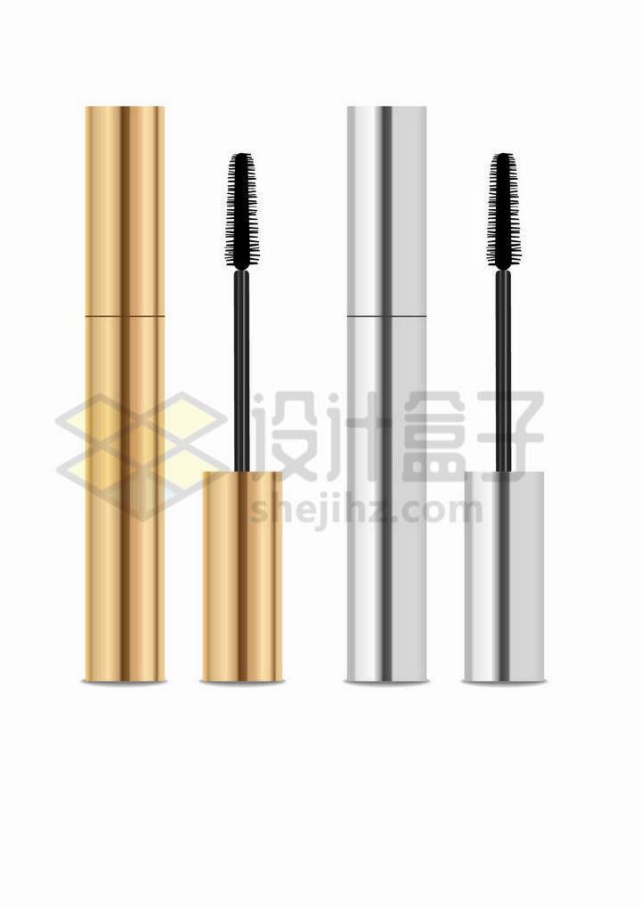 金色和银色包装的睫毛膏化妆品png图片免抠矢量素材