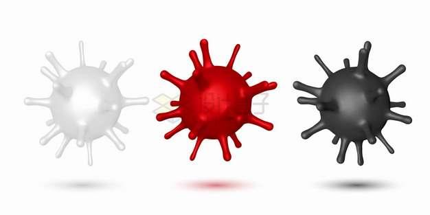 白色红色黑色3D立体新型冠状病毒png图片素材