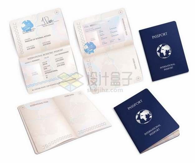 各种角度打开的护照png图片免抠矢量素材