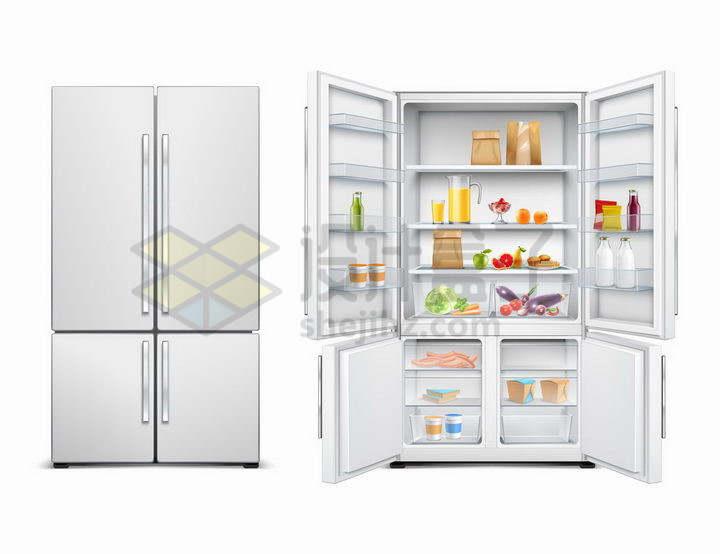银色的对开门电冰箱的关闭和打开状态png图片免抠矢量素材