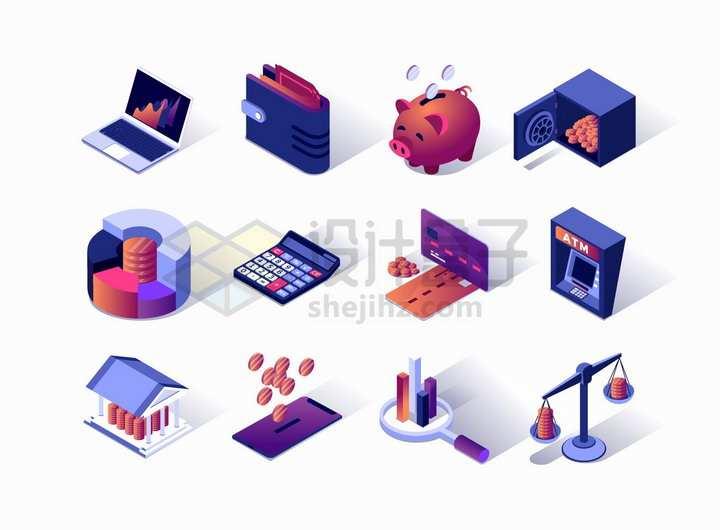 2.5D风格笔记本电脑钱包储蓄罐银行卡等金融设备png图片免抠矢量素材