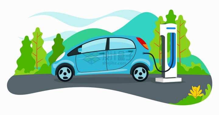 使用充电桩的电动汽车扁平插画png图片免抠矢量素材