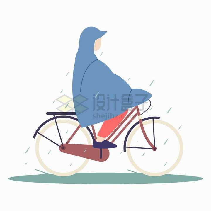 下雨天穿雨衣骑自行车出行的人png图片免抠矢量素材