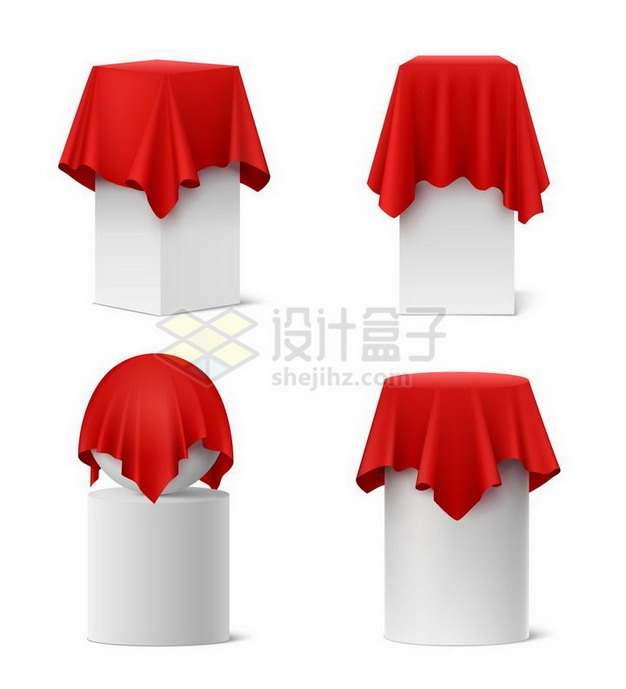 红色丝绸桌布覆盖的各种展台圆球png图片免抠矢量素材
