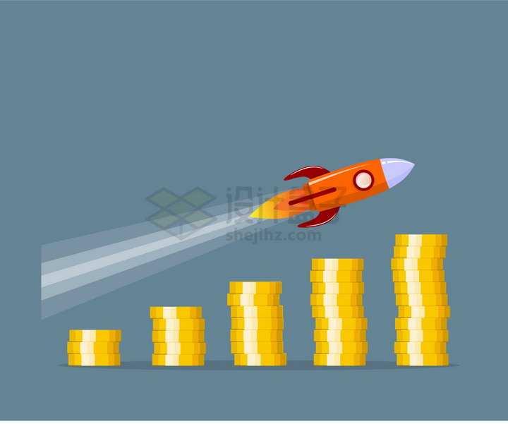 金币不断的变多和小火箭象征了财富收入的高速增长png图片免抠矢量素材