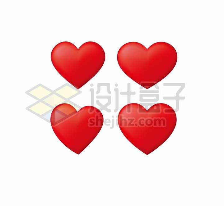 4款立体红心图案情人节爱心png图片免抠矢量素材
