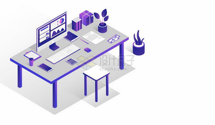2.5D风格办公桌上的电脑和办公用品png图片免抠矢量素材