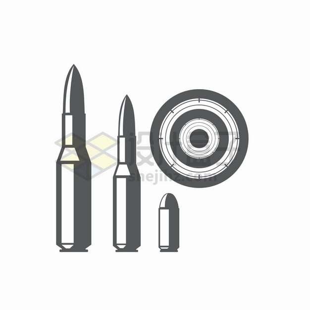 黑白色的子弹和靶子图案png图片素材