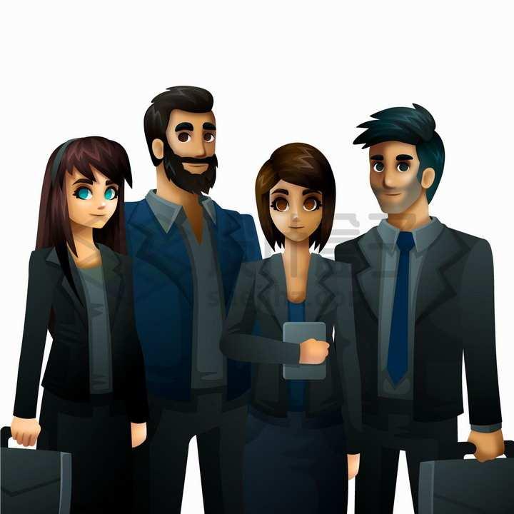 站在一起的身穿黑西服的年轻商务人士png图片免抠矢量素材