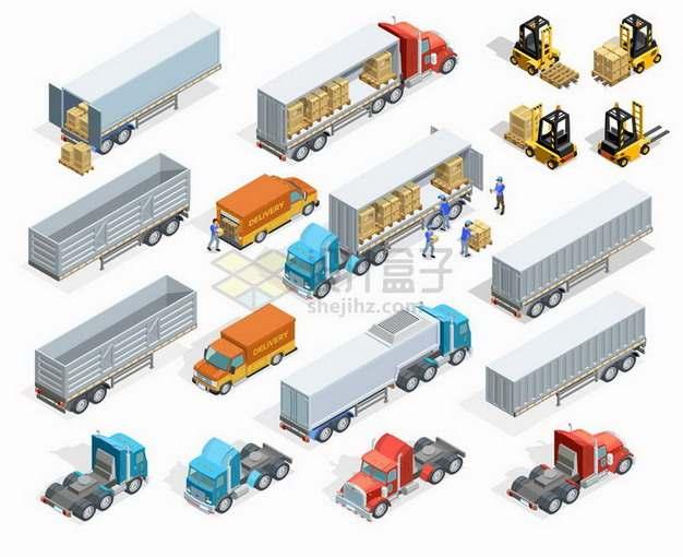 2.5D风格载重卡车牵引车头叉车卸货等快递物流运输工具png图片免抠矢量素材