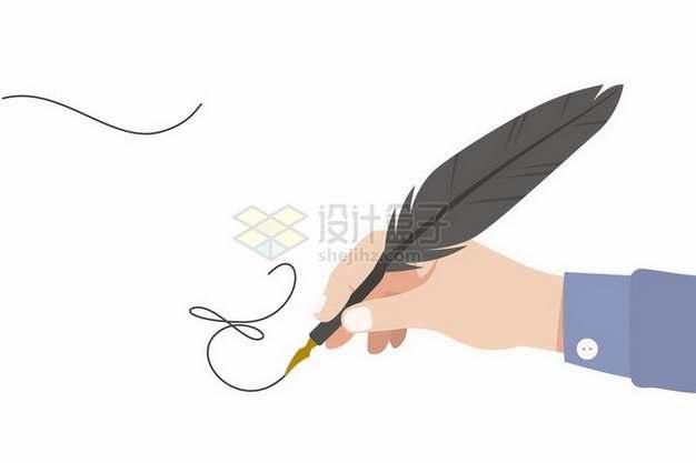 扁平化风格拿着鹅毛笔正在签字png图片免抠矢量素材