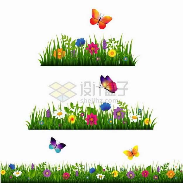 三款绿草从中盛开的花朵和飞舞的蝴蝶装饰png图片免抠矢量素材
