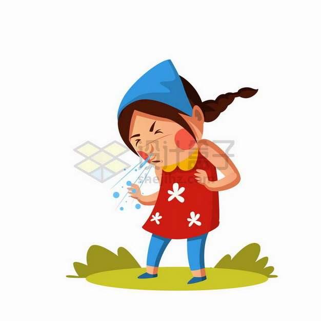 卡通女孩打喷嚏生病插画png图片免抠矢量素材