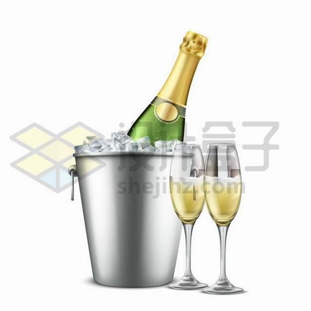 放在冰桶中的香槟酒瓶和酒杯png图片免抠矢量素材