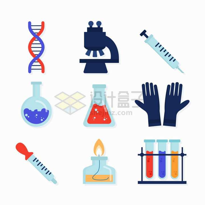 DNA螺旋结构显微镜注射器烧瓶锥形瓶一次性手套滴管酒精灯试管等化学实验仪器png图片免抠矢量素材