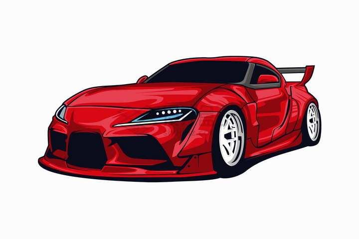 漫画风格红色跑车汽车正面图png图片免抠矢量素材