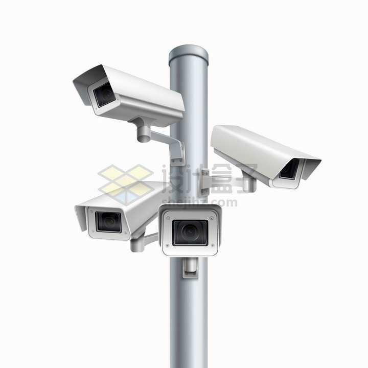 杆子上四个不同方向的监控摄像头png图片免抠矢量素材