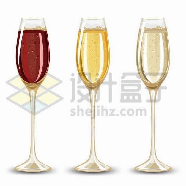 3杯酒杯中不同颜色的香槟酒png图片免抠矢量素材