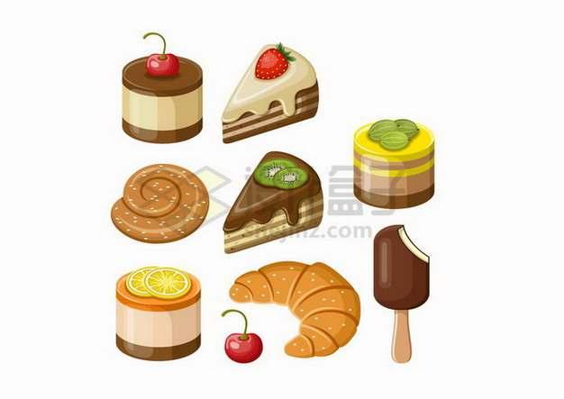 樱桃草莓葡萄猕猴桃等巧克力蛋糕冰淇淋等甜点美味美食png图片免抠矢量素材