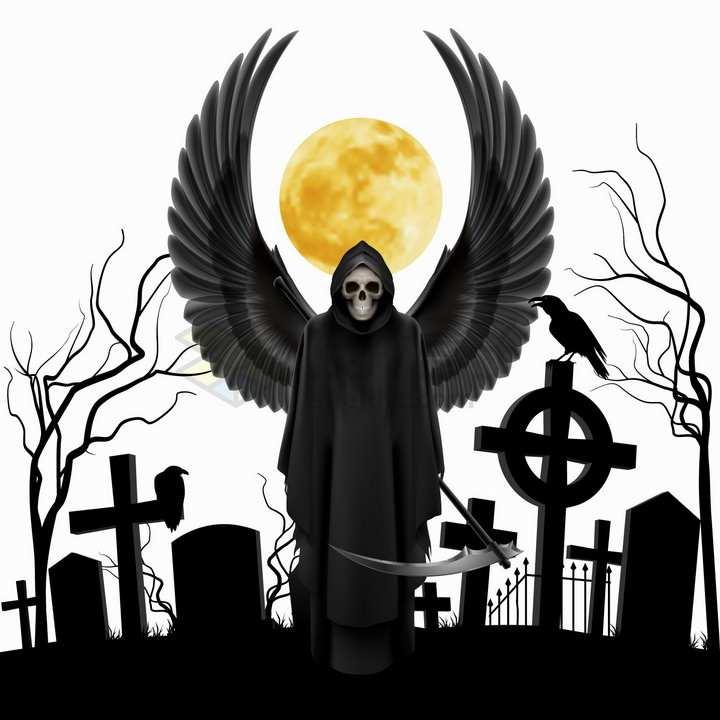 黑色的墓地剪影和邪恶的死神png图片免抠矢量素材