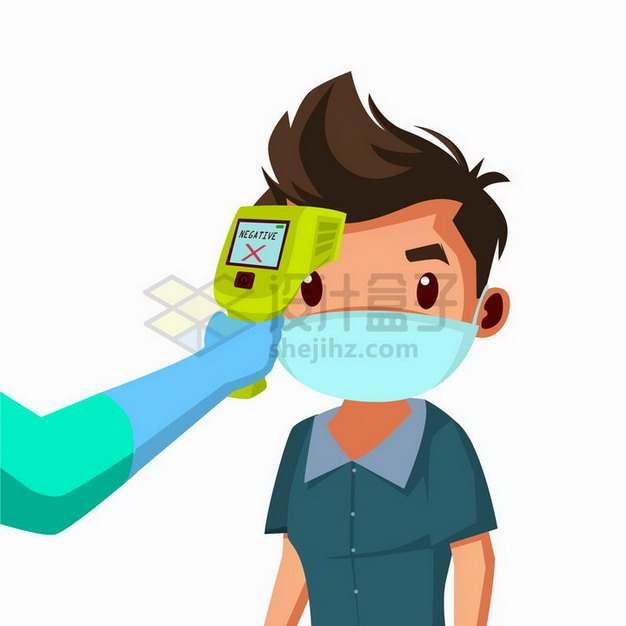 额温枪测量卡通男人的体温预防新型冠状病毒疫情插画png图片免抠矢量素材