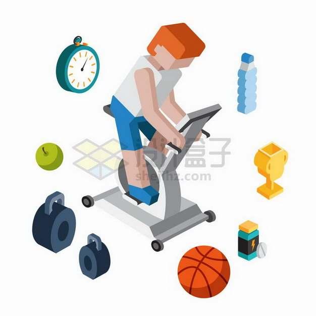 2.5D立方体年轻人正在锻炼身体健身png图片免抠矢量素材