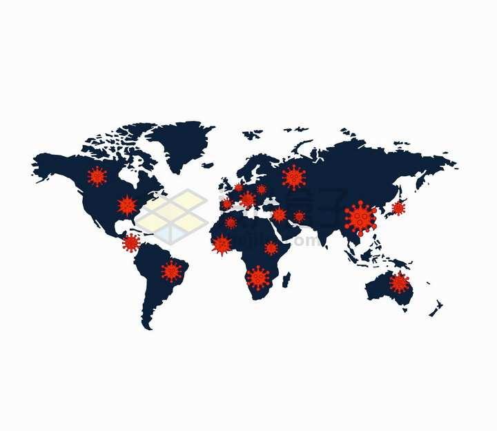 新型冠状病毒肺炎世界地图png图片免抠矢量素材