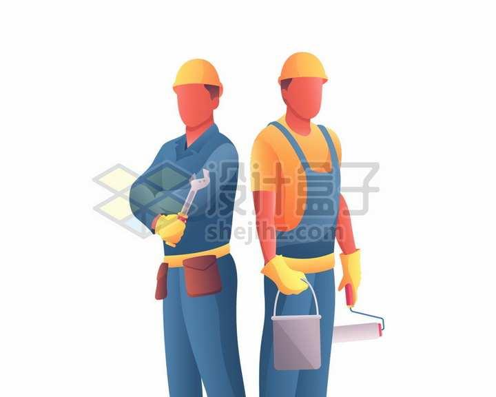 工作中的建筑工人劳动人民五一劳动节扁平插画png图片免抠矢量素材