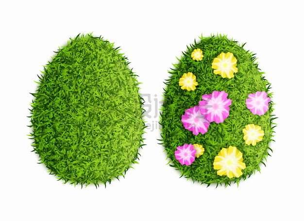 绿色青草草坪鲜花组成的鸡蛋png图片素材