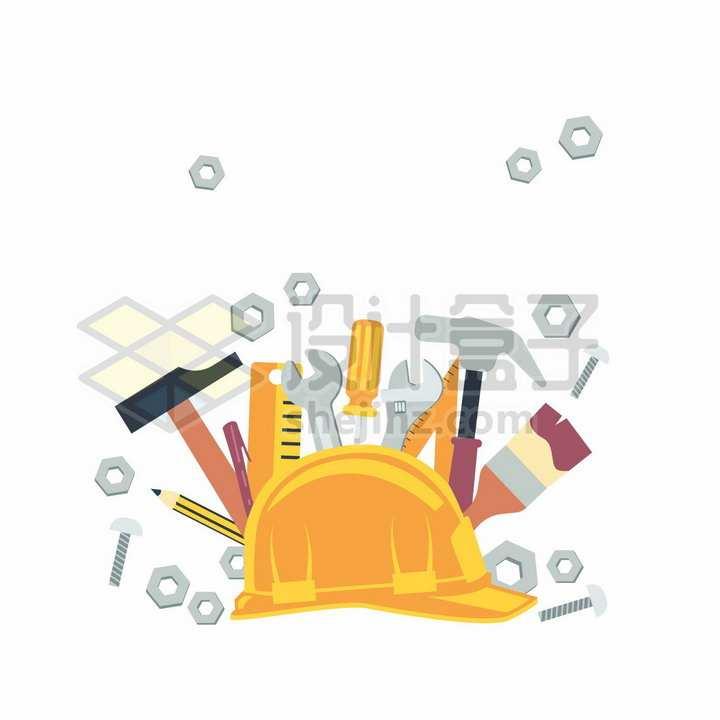 扁平化风格黄色安全帽和榔头直尺扳手等五一劳动节png图片免抠矢量素材