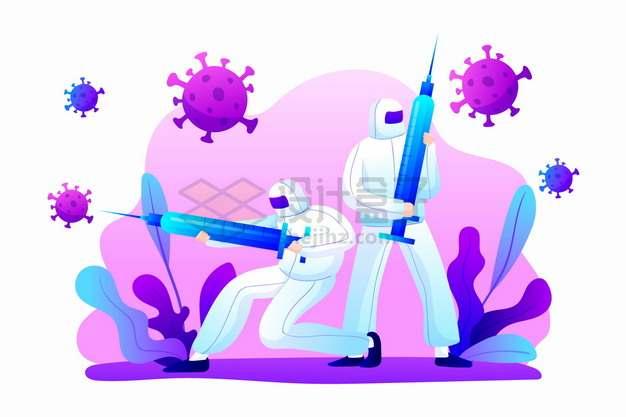 卡通医生拿着针筒对付新型冠状病毒png图片素材